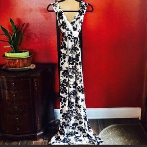 Rachel Pally Black/cream Floral maxi Dress Sz Sm